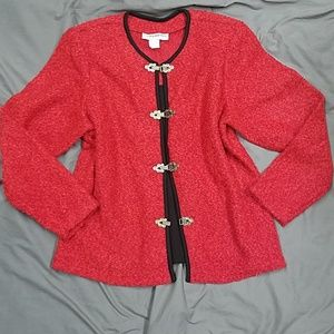 Red Tweed 2fer Sweater Top